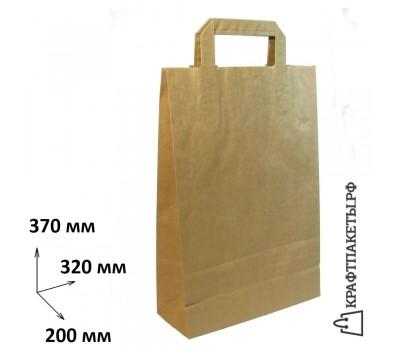 Пакет 370х320х200 мм., коричневый, плоская ручка, 80 гр