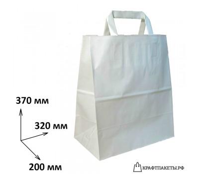 Пакет 370х320х200 мм., белый, плоская ручка, 80 гр