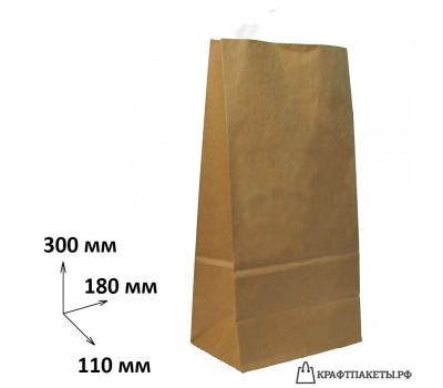 Пакет 300х180х110 мм., коричневый, пл. 70 гр.