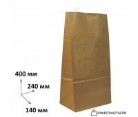 Пакет 400х240х140 мм., коричневый, пл. 70 гр.