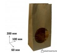Пакет с прямоугольным дном и окном 200х100х60 окно, 2 сл.