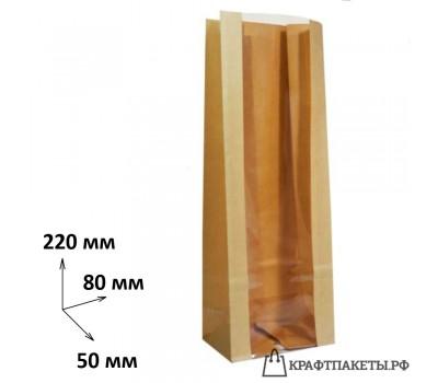 Пакет с прямоугольным дном и окном 220х80х50 прозрачная полоса
