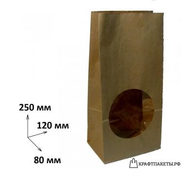 Пакет с прямоугольным дном и окном 250х120х80 окно, 2 сл.