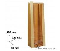 Пакет с прямоугольным дном и окном 300х120х80 прозрачная полоса