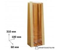 Пакет с прямоугольным дном и окном 310х100х60 прозрачная полоса