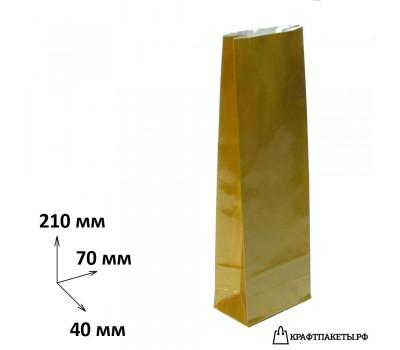 Пакет для чая и кофе 100 гр., 210х70х40 цвет Бронза