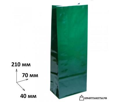 Пакет для чая и кофе 100 гр., 210х70х40 цвет Зеленый