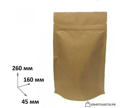 Пакет крафт с зип лок 260х160х45, фольга