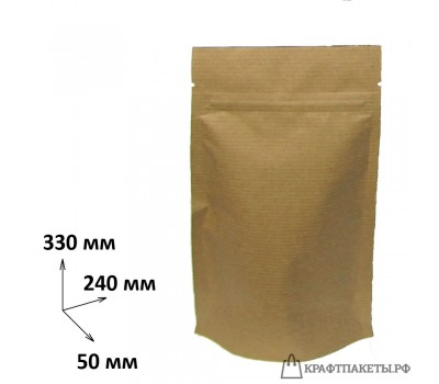 Пакет крафт с зип лок 330х240х50, фольга